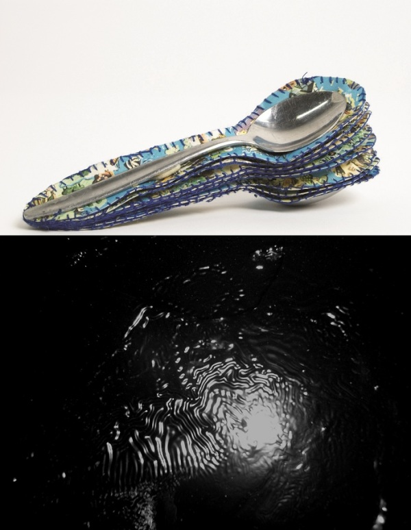FELTspace July Invite- Image: Top- Jacqueline Bradley,Long Distance Spooning, 2008- Maps, cotton, sponge, epoxy resin and spoons.  Bottom: Sam Howie, Substance, 2010- Enamel on board.